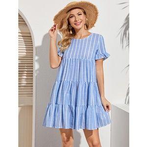 Blue Striped Flared Short Summer Dress